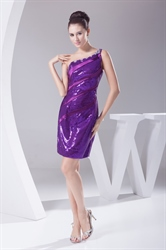 Purple Short One Shoulder Dresses With Sequin Covered Shoulder Strap