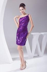 Purple Short One Shoulder Dresses With Sequin Covered Shoulder Strap