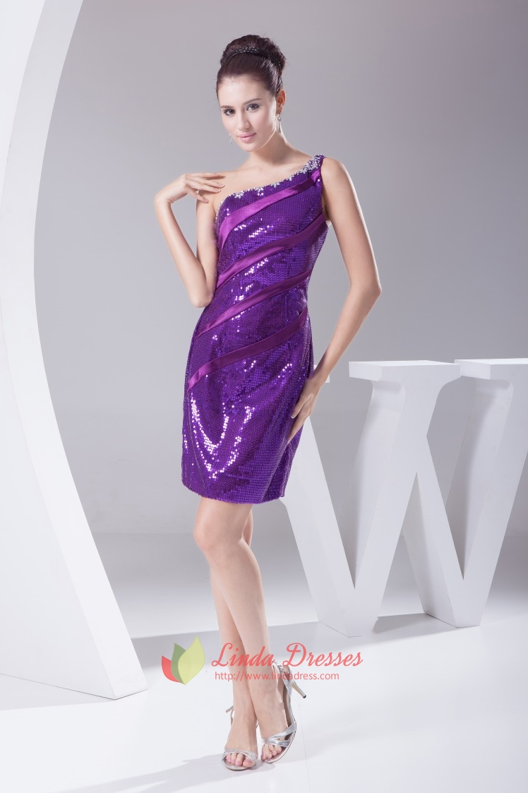 Purple Short One Shoulder Dresses With Sequin Covered Shoulder Strap ...