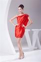 Show details for Red One Shoulder Short Prom Dress, One Shoulder Flowy Cocktail Dresses
