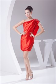 Red One Shoulder Short Prom Dress, One Shoulder Flowy Cocktail Dresses