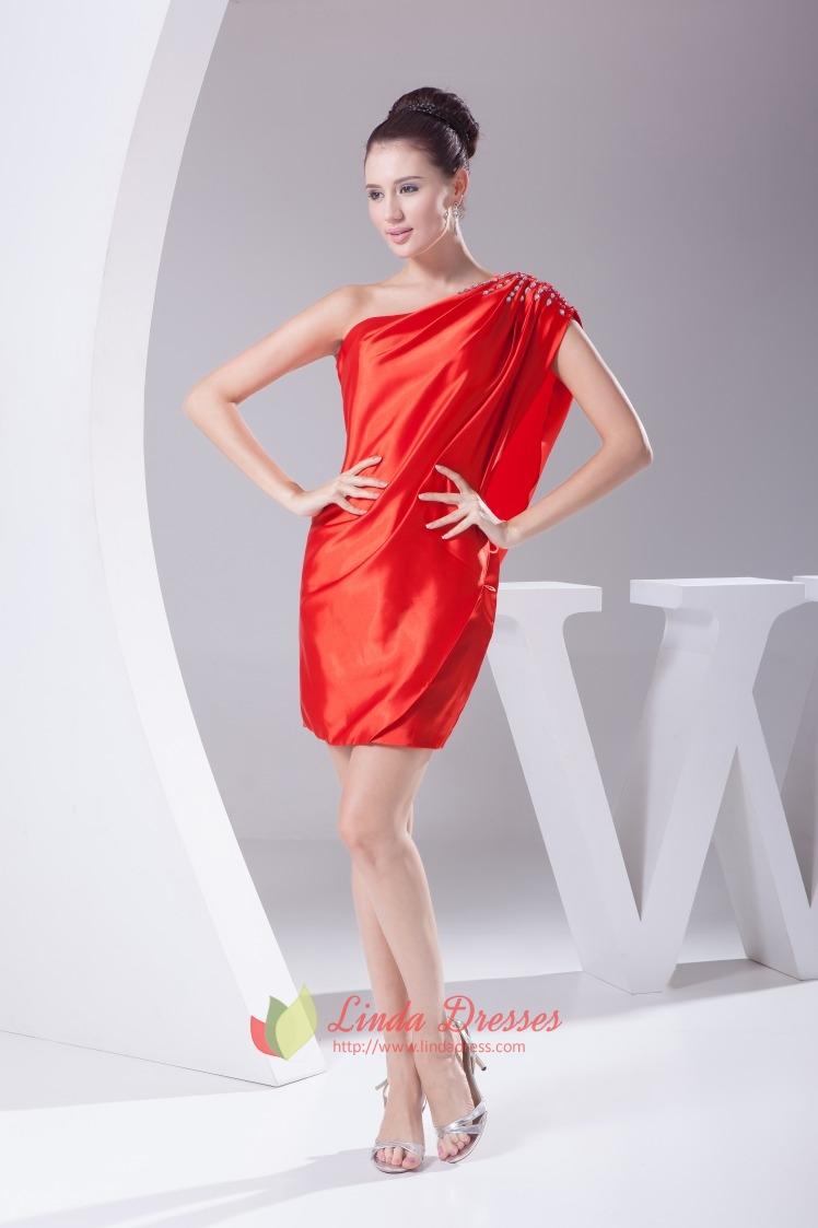 Red One Shoulder Short Prom Dress, One Shoulder Flowy Cocktail ...