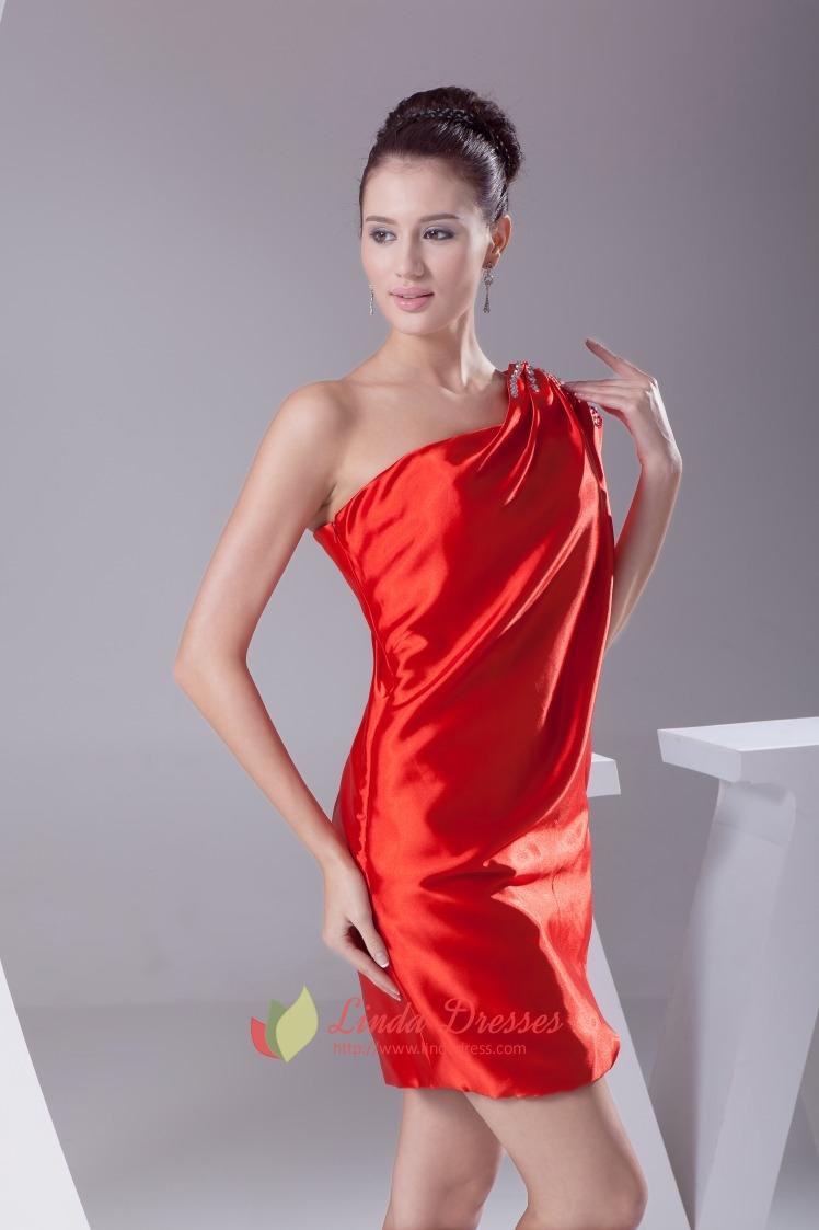 Red One Shoulder Short Prom Dress, One Shoulder Flowy ...