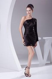 Black One Shoulder Dress With Long Sleeve, Little Black Cocktail Dress