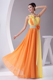 One Shoulder Chiffon Gown With Floral Appliques,Long Chiffon Prom Gown