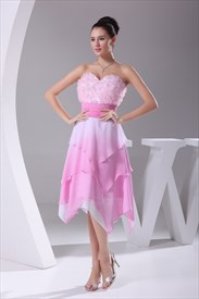 Pink Chiffon Cocktail Dress, Short Strapless Sweetheart Pink Dress