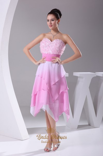 Show details for Pink Chiffon Cocktail Dress, Short Strapless Sweetheart Pink Dress