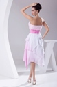 Show details for Pink Chiffon Cocktail Dress, Short Strapless Sweetheart Pink Dress