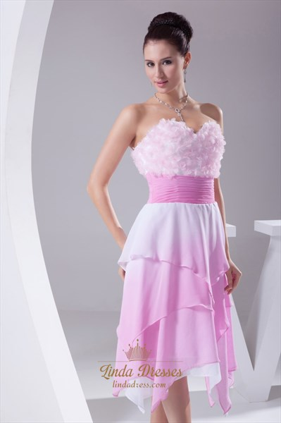 Pink Chiffon Cocktail Dress, Short Strapless Sweetheart Pink Dress