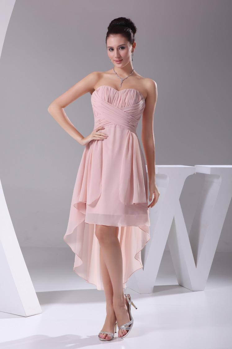 Strapless Chiffon High Low Dress, Pink Chiffon Bridesmaid ...