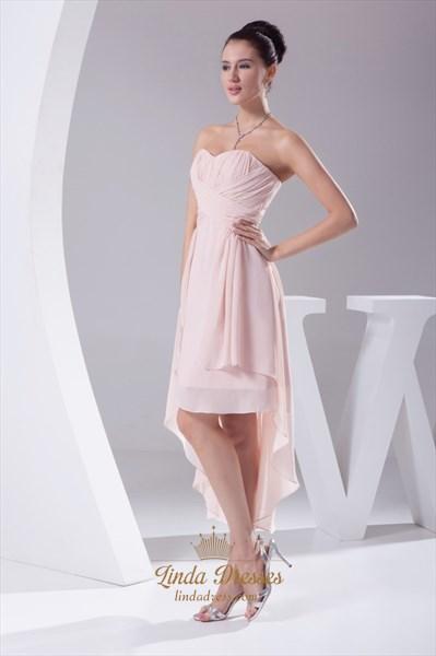 Strapless Chiffon High Low Dress, Pink Chiffon Bridesmaid Dresses UK
