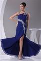 Show details for Royal Blue Chiffon Evening Dress, One Shoulder Chiffon Long Prom Dress