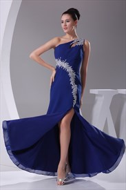 Royal Blue Chiffon Evening Dress, One Shoulder Chiffon Long Prom Dress