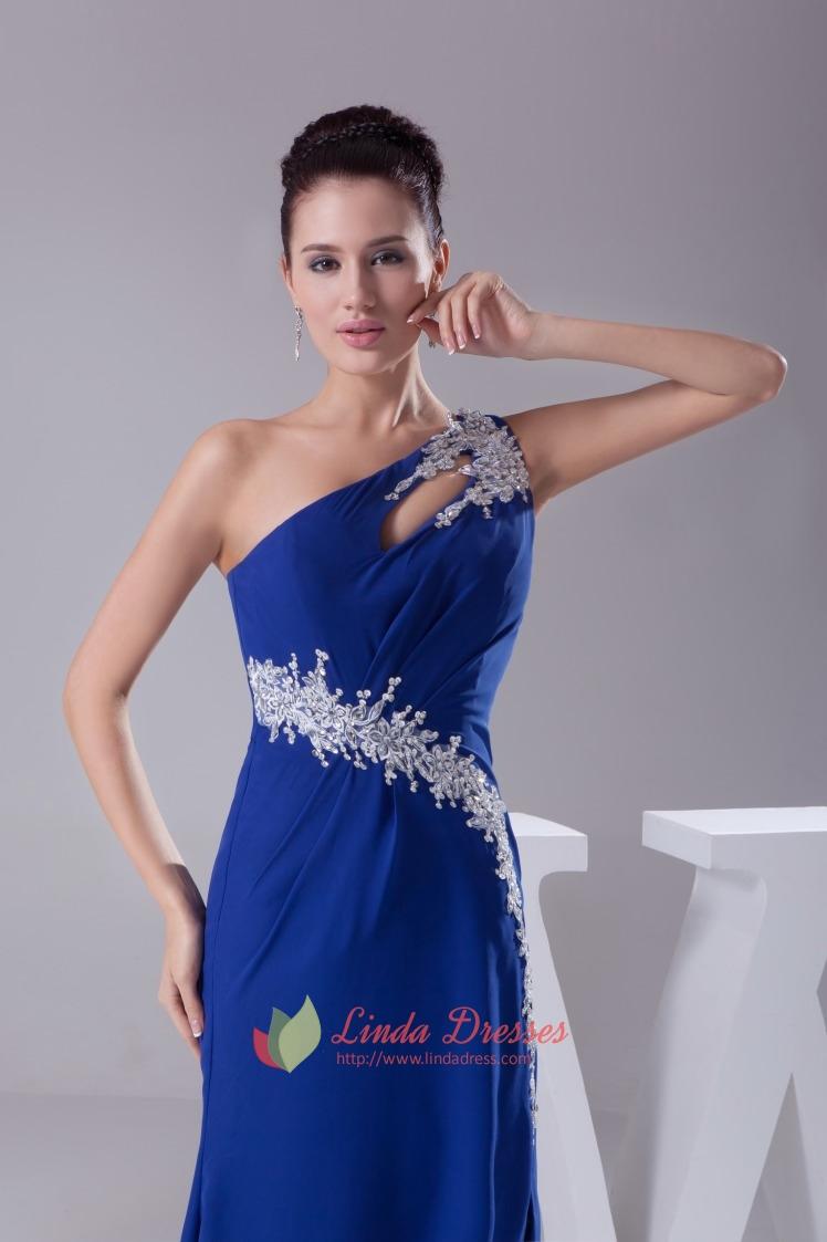 Royal Blue Chiffon Evening Dress, One Shoulder Chiffon ...