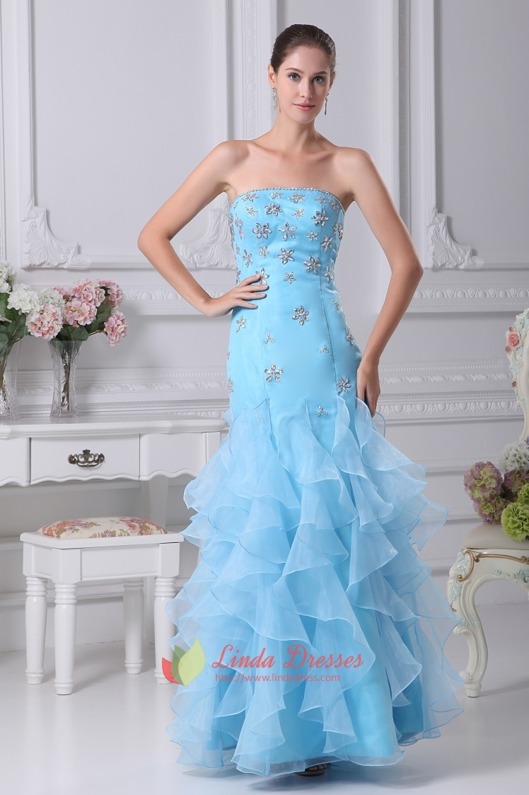 Strapless Organza Ruffle Dress, Strapless Beaded Bodice Prom Dresses ...