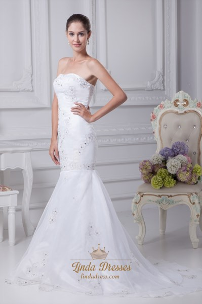Mermaid Sweetheart Cocktail Organza Evening Dress, White Wedding Gowns