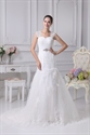 Show details for White Mermaid Lace Wedding Dress With Cap Sleeves And Keyhole Back