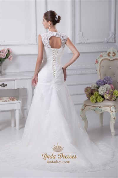 White Mermaid Lace Wedding Dress With Cap Sleeves And Keyhole Back