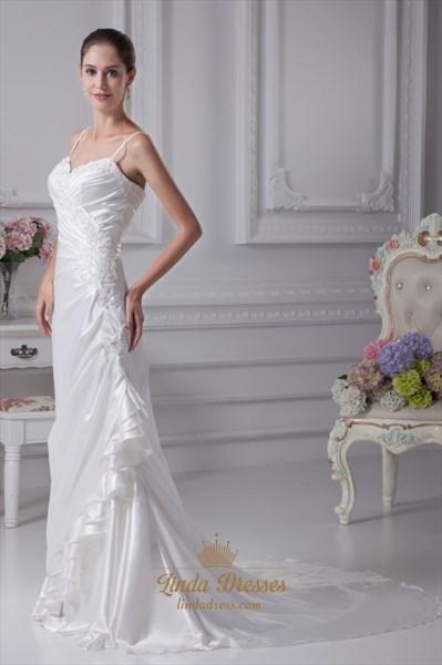 Ivory Spaghetti Strap Wedding Dress, Elegant Ivory Long Prom Dresses