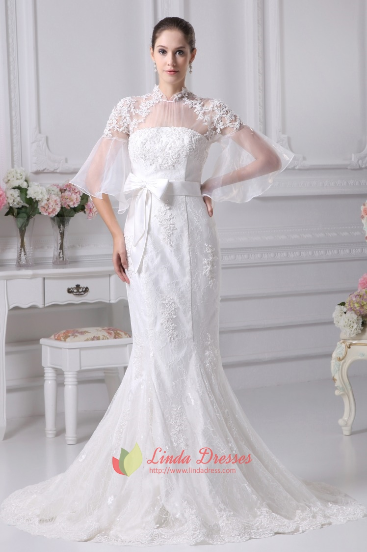 Vintage inspired lace wedding dresses mermaid lace for Lace sleeve wedding dresses