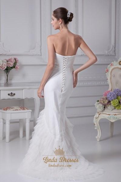 Strapless Mermaid Wedding Dresses 2021, Mermaid Long Evening Dresses