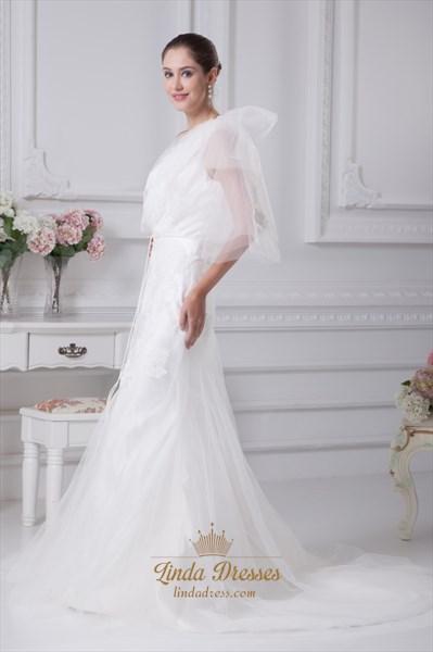 Elegant One Shoulder Mermaid Wedding Dress, Lace Mermaid Wedding Dress