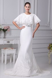 Elegant One Shoulder Mermaid Wedding Dress, Lace Mermaid Wedding Dress