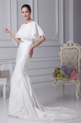 White Satin Mermaid Wedding Dress, Simple Elegant Satin Wedding Dress