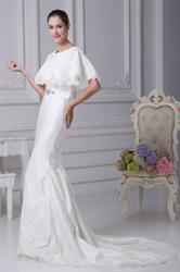 White Satin Mermaid Wedding Dress, Simple Elegant Satin Wedding Dress