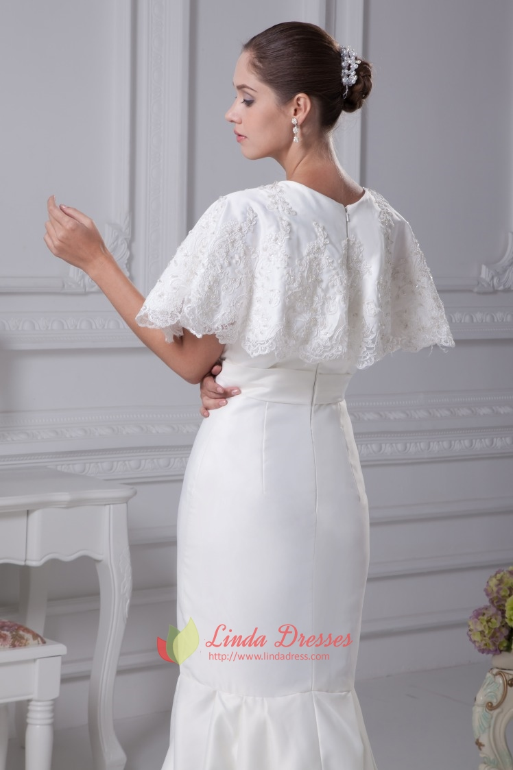 White satin mermaid wedding dress simple elegant satin for White silk wedding dress