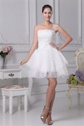 Strapless Lace Short Wedding Dress, Strapless Layered Babydoll Dress