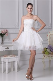 Strapless Lace Short Wedding Dress, Strapless Layered Babydoll Dress