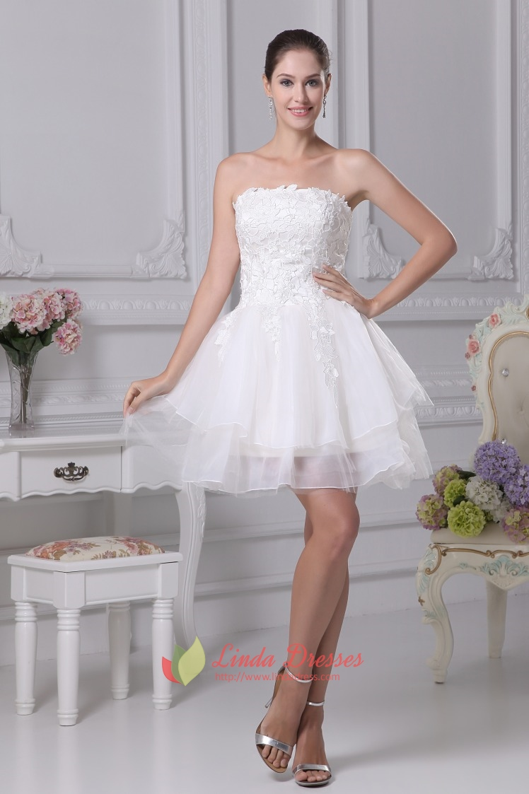 Strapless layered lace short wedding dress strapless for Short ivory wedding dress