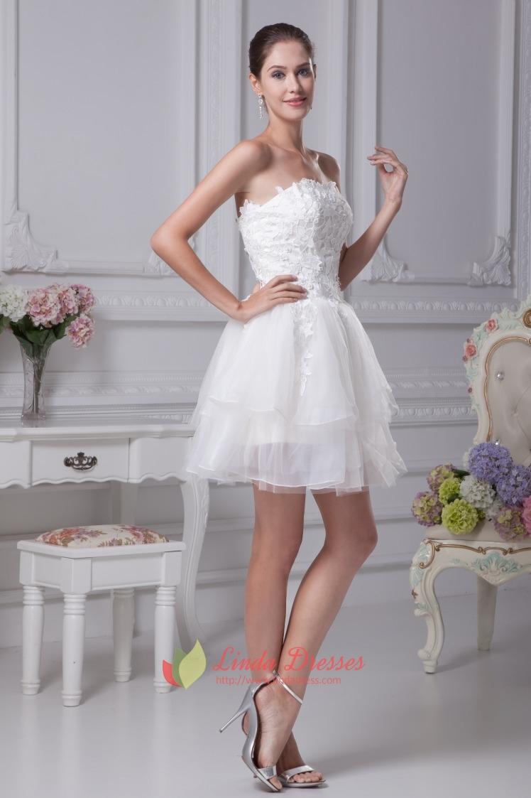 Strapless layered lace short wedding dress strapless for Ivory short wedding dress