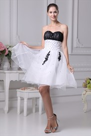 Strapless Two Toned Tulle Ball Gown, White And Black Cocktail Dress