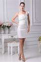Show details for One Shoulder Short Semi-Formal Dress,Ivory One Shoulder Cocktail Dress