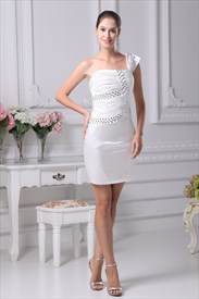 One Shoulder Short Semi-Formal Dress,Ivory One Shoulder Cocktail Dress