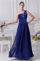 Show details for One Shoulder Chiffon Gown With Floral Appliques, Royal Blue Prom Dress