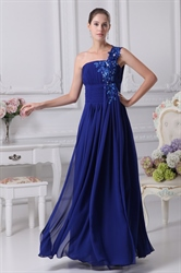 One Shoulder Chiffon Gown With Floral Appliques, Royal Blue Prom Dress