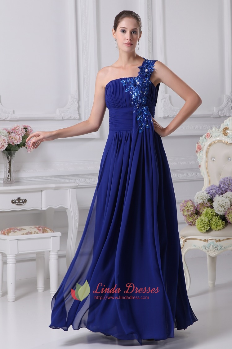 One Shoulder Chiffon Gown With Floral Appliques, Royal Blue Prom ...
