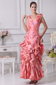 Prom Dress With Embroidered Flowers, Floral Applique Prom Dress