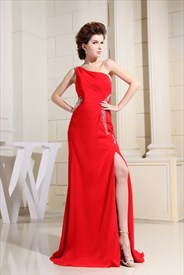 One Shoulder Chiffon Prom Dress, Red One Shoulder Long Evening Dress