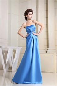 Aqua Strapless Pleated Prom Dress, Aqua Blue Long Bridesmaid Dresses