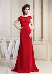 Burgundy Mother Of The Bride Dress, Chiffon Empire Waist Evening Gown
