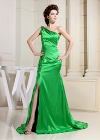 Green One Shoulder Prom Dress,Draped One Shoulder With Trim Prom Dress