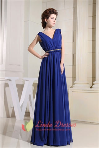 V-Neck Floor Length Chiffon Prom Dress, Royal Blue Chiffon Prom Dress