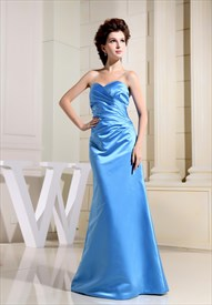 Satin Strapless Gown With Side Drape, Aqua Blue Long Bridesmaid Dress