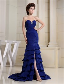 Long Royal Blue Dresses For Weddings,Royal Blue Princess Evening Gown Prom Dresses