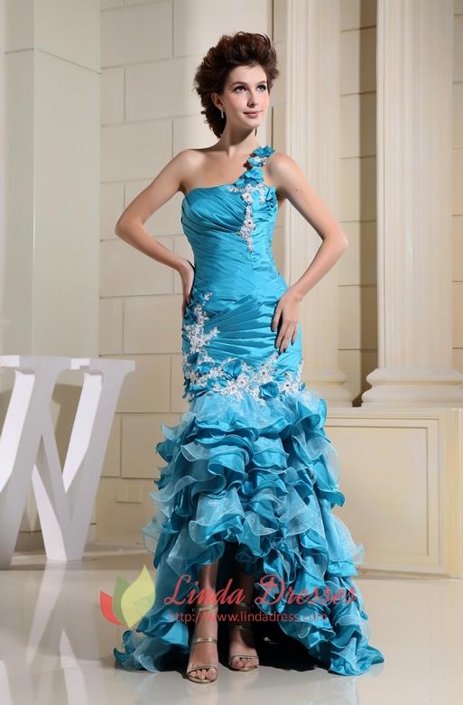 One Shoulder Prom Gown With Sheer Back Aqua Blue,One Shoulder Dress With Flower Strap