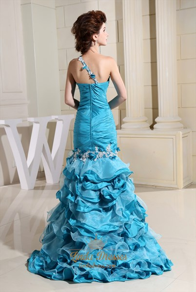 One Shoulder Prom Gown With Sheer Back Aqua Blue,One Shoulder Dress With Flower Strap